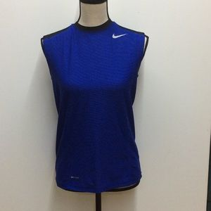 Nike sleeveless blue black tank top Dri Fit size L